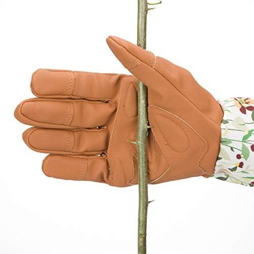 Gaoominy 耐パンク長袖付きナイロンローズガーデニンググローブ/ソーンプルーフプルーニンググローブプリントカフ