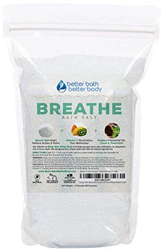 Breathe Bath Salt 32oz (2-Lbs) - Epsom Salt Bath Soak With Clove & Spearmint Essential Oils & Vitamin C - Helps Open Airways & Encourages Better Breathing - All Natural No Perfumes No Dyes