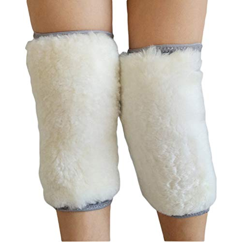 (Unisex Winter Warm Thick Wool Knee Support Fleece Arthritic Knee Pads Fitness Sweat Protector,Short Wool,L)