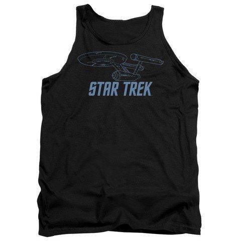 Trevco Star Trek-Enterprise Outline Adult Tank Top Black44; 2X