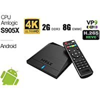 2017 Newest Android 7.1 Smart Tv Box Quad Core Amlogic S905x 2GB DDR3 Ram 8GB EMMC Flash M96x True 4K Playing High Speed Processor 64 Bits Full HD Media Streaming Player HDMI Wifi