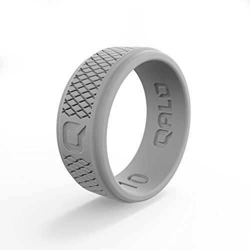 QALO Men's Functional Silicone Ring, Q2X Step Edge, Light Grey Crosshatch, Size 11 (Cross Band Ring)