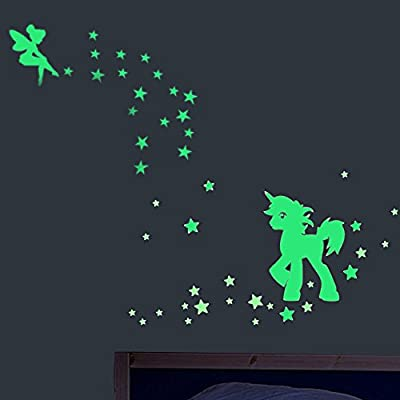 akeke Glow in The Dark Unicorn Stars Wall Decal, Unicorn Floral Decal Fairytale Fairy Stickers Wall Decal Girls Bedroom Home Decor: Kitchen & Dining