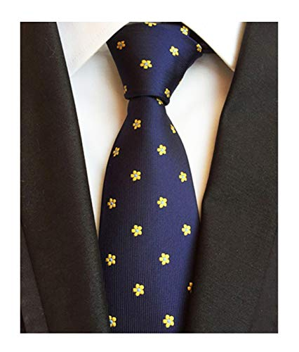Coat Floral Silk (Men Boy Navy Blue Yellow Floral Silk Handmade Ties Jacquard Woven Dating Necktie)