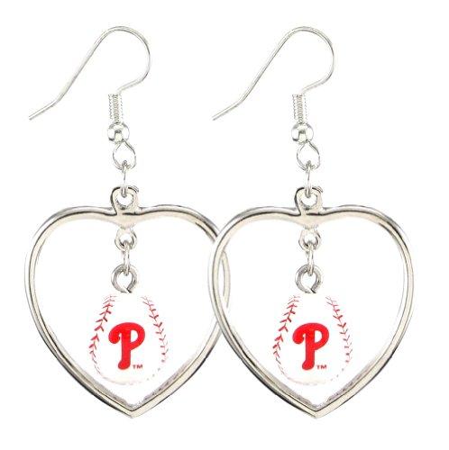 Charm Phillies Baseball Philadelphia (MLB Philadelphia Phillies Mini Baseball Heart Dangler Earrings)