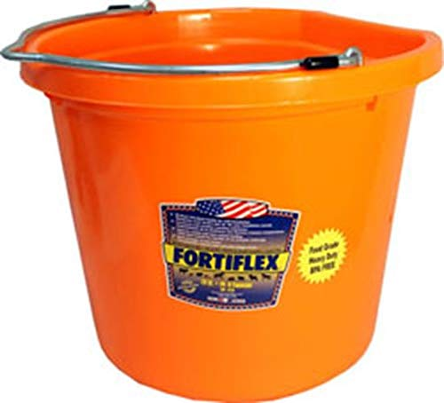- Fortiflex Flat Back Feed Bucket for Dogs/Cats and Small Animals, 20-Quart, Tangerine Orange