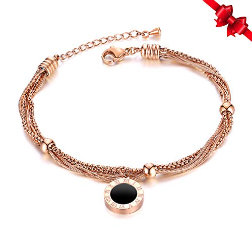 Women Multi-Layer Wrap Chain Bracelet Stainless Steel Roman Numerals Charm for Women Girls (Rose ()