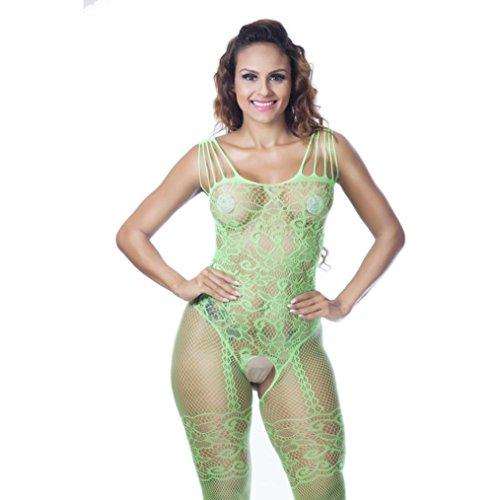 Frauen Mesh Hohlen Overalls, Zarupeng One Piece Reizwäsche, Babydoll Kleid Unterwäsche Nachtwäsche Jumpsuit Clubwear Dessous Bandage Lingerie Grün
