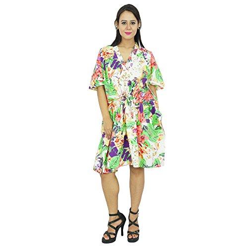 New Indian Kaftan Boho Hippy Top más el tamaño de las mujeres Caftan Playa regalo vestido para ella Off blanco y verde