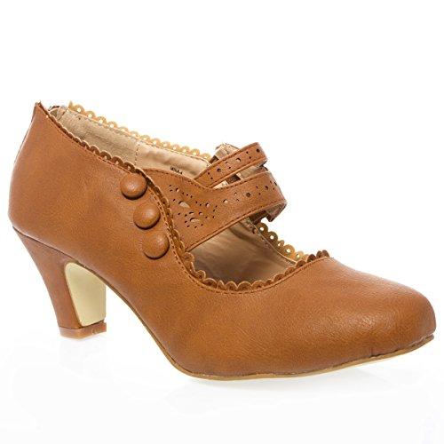 Womens Closed Toe Mary Jane High Heel Shoes
