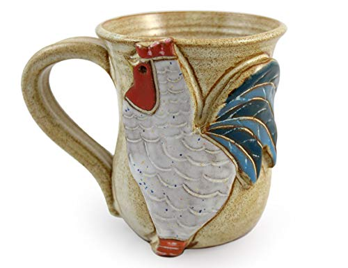 Carved Farmhouse Rooster Coffee Mug - American Handmade Stoneware Pottery, 14 oz