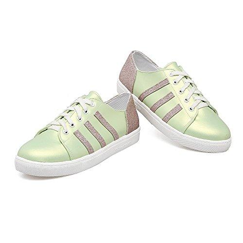 Ballet Tacco Basso Flats Verde Donna Luccichio Allacciare VogueZone009 Xawf4HRq4