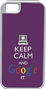Rikki KnightTM Keep Calm And Google It -Purple Color White Tough-It Case Cover for iPhone 5 & 5s(Double Layer case with Silicone Protection)