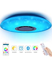 Luces LED de techo para música 60W, Houkiper Bluetooth Luces para música Control remoto LED Regulable Luz de techo Redondo Punto de estrella RGBW Cambio de color APLICACIÓN 185-265V Control remoto