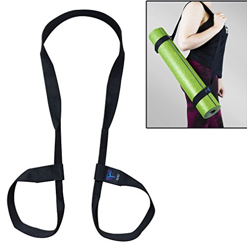NJ·SJ 2 in 1 Adjustable Yoga Mat Carry Strap Sling & Fitness Stretching Strap,Durable Cotton/polyester canvas strap,Come with Lifetime Warranty (Mat not included,71