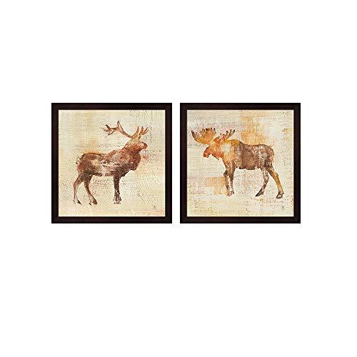 Elk & Moose Study v2 by Studio Mousseau, 2 Piece Mahogany Framed Art Set, 13 X 13 Inches Each, Animal Art