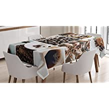Kitchen Tablecloth by Ambesonne, Collage of Coffee and Products Beans Deserts Ice Cream Cinnamon Hot Drink, Dining Room Kitchen Rectangular Table Cover, 52W X 70L Inches, Dark and Light Brown
