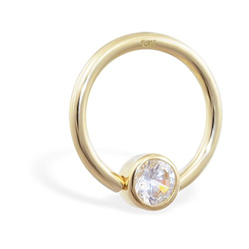 MsPiercing 14K Gold Captive Bead Ring With Cubic Zirconia, Gauge: 16 (1.2Mm), 14K Yellow Gold, 1/2