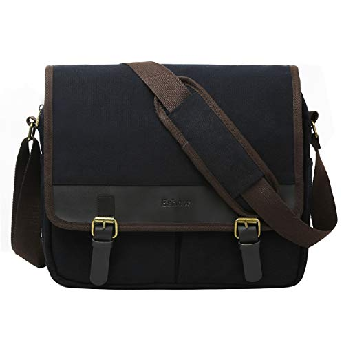 292230a00edc9 Galleon - Eshow Men's Retro Canvas Crossbody Shoulder Messenger Bag Brief  Business Bag (Black-5211)