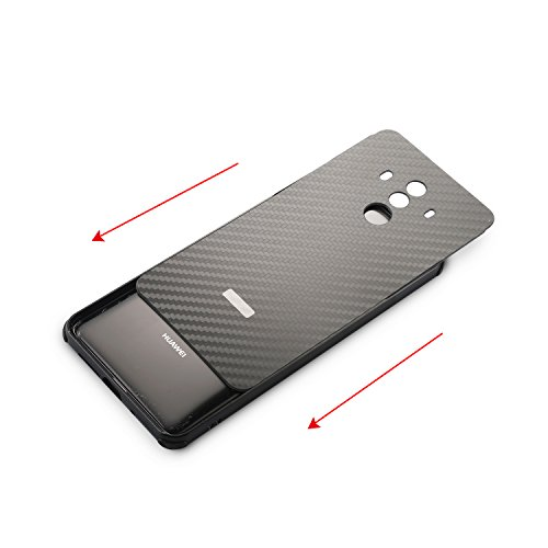 Mate 10 Pro Case,DAMONDY Luxury Carbon Fiber Design Ultra thin Imitation Metal Brushed Premium Aluminum Shockproof Protective Bumper Hard Back Case Cover for Huawei Mate 10 Pro-Silver by DAMONDY (Image #4)