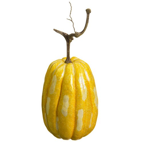 14''Hx6''W Artificial Weighted Pumpkin -Yellow/Gold (pack of 6) by SilksAreForever