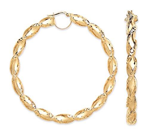 Jewellery World Bague en or jaune 9carats Grand torsadée creux Boucles d'oreilles créoles