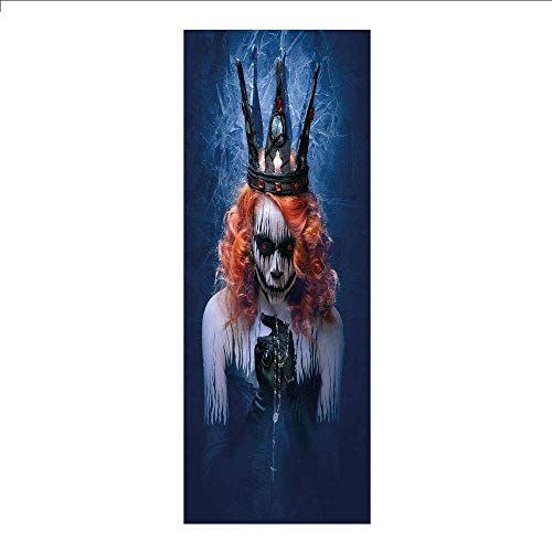 Yaoni 3D Decorative Film Privacy Window Film No Glue,Queen,Queen of Death Scary Body Art Halloween Evil Face Bizarre Make Up Zombie,Navy Blue Orange Black,for Home&Office