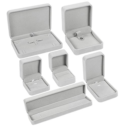 Jewelry Boxes - 6-Piece Set of Jewelry Storage Cases, Velvet Lined Boxes, Ring Holders, Ideal for Necklaces, Bracelets, Earrings, Rings, Grey