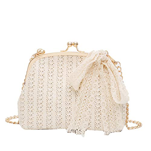 (Straw Crossbody Bag - Ladies Cute Woven Chain Strap Shoulder Bag with Lace Scarves Trim - Girl Casual Messenger Bag for School Party Summer Beach (White))