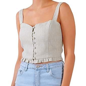 Senxcover Women's Crop Tank Tops, 100% Linen Casual Vintage Button Camisoles - Beige - 8
