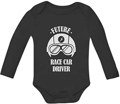 Tstars Future Race Car Driver - Cool Unisex Funny Baby Long Sleeve Bodysuit Newborn Black - Race Infant Boys Long Sleeve