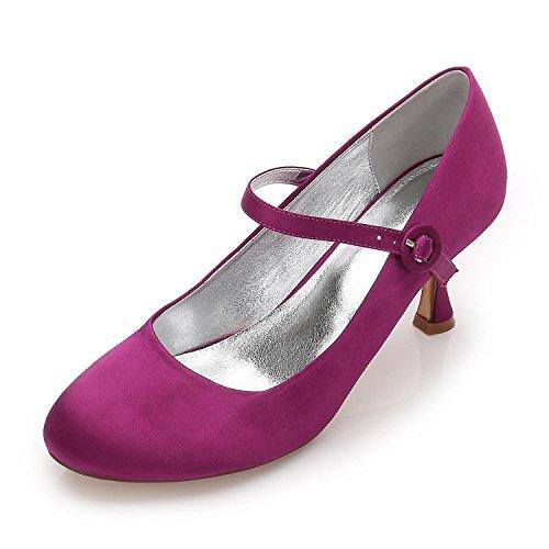 L Chaussures Mariage Party Femmes purple Hauts 27 Satin Talons F17061 Toe Personnalisé Court YC Amande de qRrqwaBTx