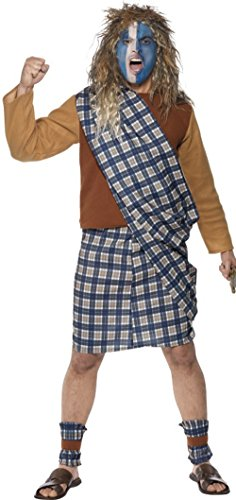Smiffys Men's Brave Scotsman Costume, Tartan, Top, Kilt with Sash and Leg Ties, Tales of England, Serious Fun, Size M, 31114