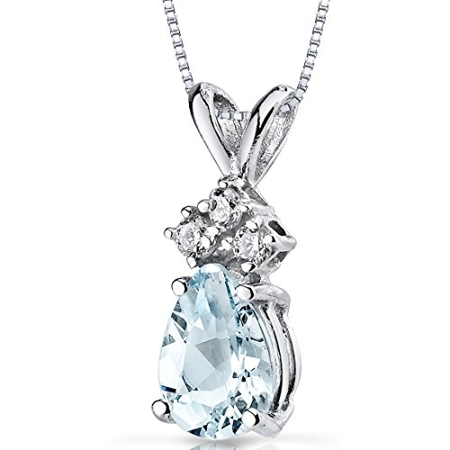 Gold Pear Necklace (14 Karat White Gold Pear Shape 0.50 Carats Aquamarine Diamond Pendant)