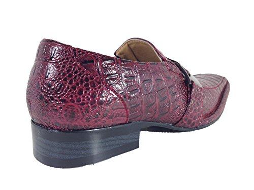 on Burgendy Size Dress Slip Santcro with Fashion Loafers Runs Buckle Elastic Crocodile Big Print Romeo Enzo Men's Shoes Half UzfqH