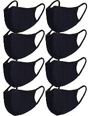 8pcs/Pack Black Mask Windproof Dustproof Masks Breathable Reusable Washed for Outdoor Sport Half Face Earloop Cotton Masks