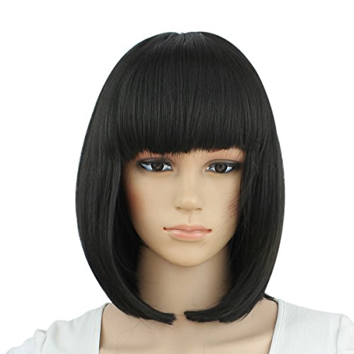 Premium Short Bob Wigs Black Wig for Women with Bangs Straight Cosplay Synthetic Wig Natural As Real Hair