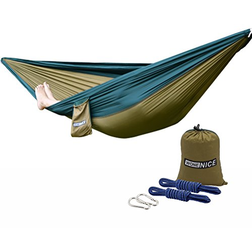 - WoneNice Camping Hammock - Portable Lightweight Double Nylon Hammock, Best Parachute Hammock with 2 x Hanging Straps for Backpacking, Camping, Travel, Beach, Yard and Garden