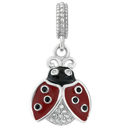 925 Sterling Silver Lady Bug Red Enamel Cubic Zirconia Crystal European Style Dangle Bead ()