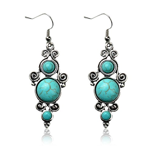 Tagoo Retro Silver Round Inlaid Turquoise Dangle Earrings (Cute Indian Costumes For Girls)