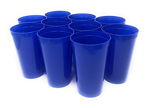 CSBD 10 Pack Blank 22 oz Plastic Stadium Cups Bulk - Made In USA, Reusable or Disposable, Great For Customization, Monograms, Marketing, DIY Projects, Weddings, Parties, Events (10, Blue)