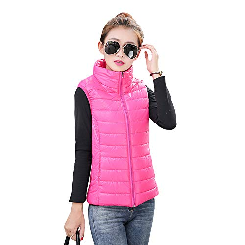 XFentech Down Collar Stand Coat Vest Body Up Womens Jacket Warmers Gilet Red Sleeveless Zip Vest Jacket Rose Fq5rCTqcxw