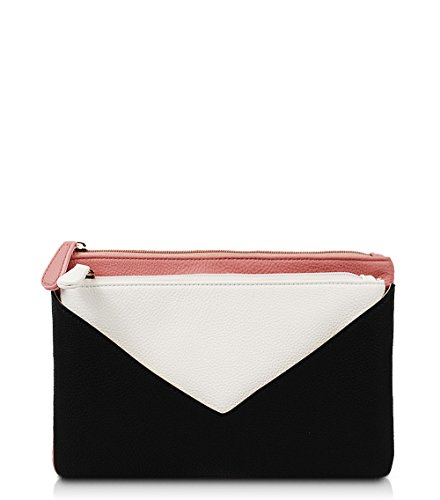 Zip Tri Clutch - Prudence Tri-Colored Zip Clutch (Pink)