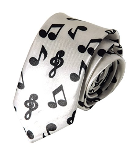 Men Boy White Novelty Slik Satin Ties Black Music Note Cosplay Polyester -