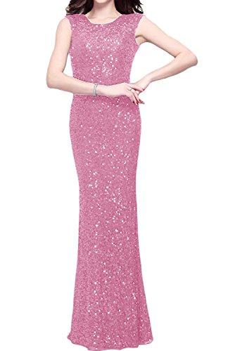 Ivydressing Elegant Abendkleid Ballkleid Rundkragen zwei Traeger Rueckenfrei bodenlang Paillette Etui Festkleid Partykleid Rosa 78EF1a