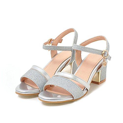 Hebilla de de D Tacón Club Primavera de Verano Zapatos Zapatos Mujer Cuero metálica de Grueso sintético Sandalias dT66wq