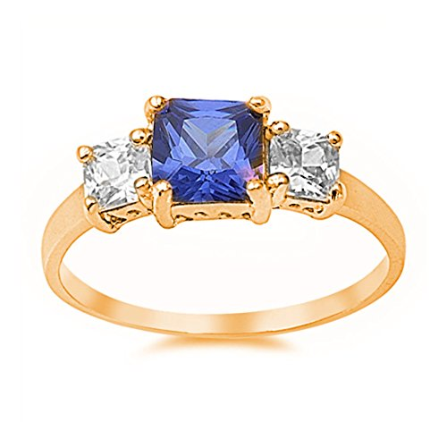 Blue Apple Co. Three Stone Wedding Ring Princess Cut Simulated Tanzanite Clear CZ Rose Tone Plated 925 Sterling Silver