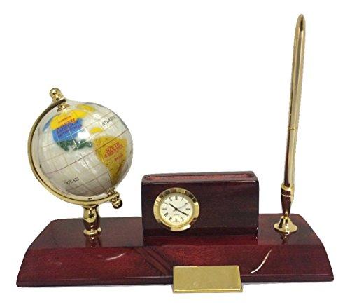 Globe Desk Clock - Heim Concept Executive Desk Set - Globe, Cardholder, Clock & Pen Stand