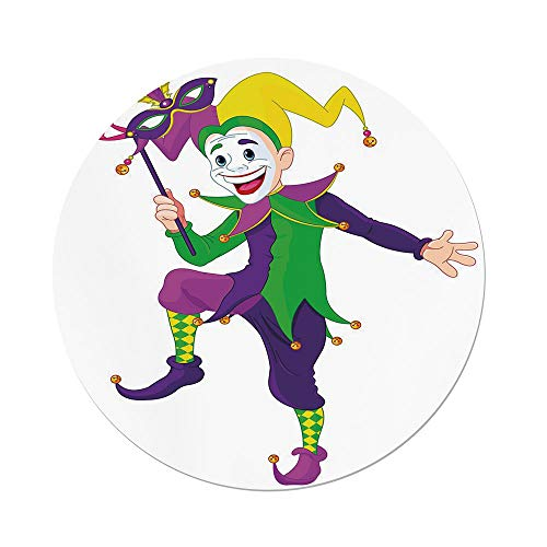 Polyester Round Tablecloth,Mardi Gras,Cartoon Style Jester in Iconic Costume with Mask Happy Dancing Party Figure,Multicolor,Dining Room Kitchen Picnic Table Cloth Cover,for Outdoor Indoor by iPrint