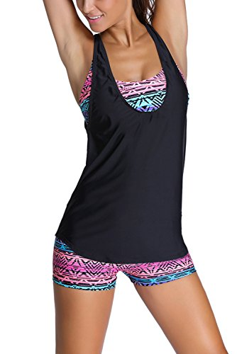 Dearlovers Tribal Printed Tankini with Boyshorts Bikini Set Small Black-02